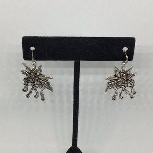 Sterling Woodland Fairy Fishhook Earrings
